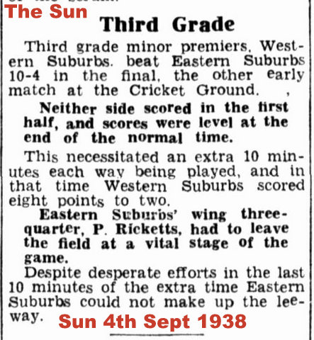 1938 Final game report The Sun newspaper