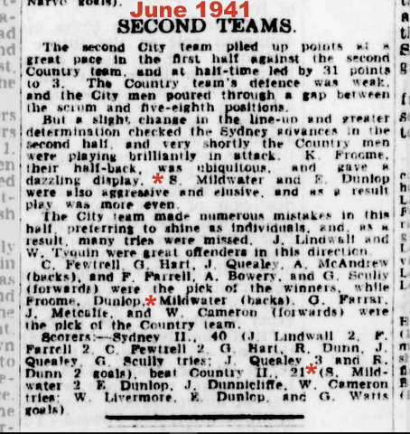 1941 Country seconds game report 2 tries.
