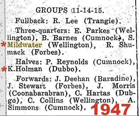 1947 rep game holman at half back stan in the centres