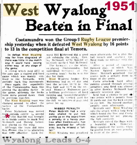 1951 West Wyalong beaten GF