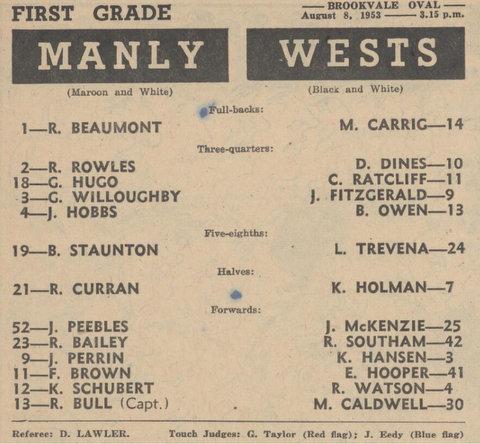 1953 wests v manly