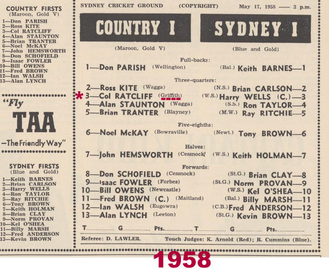 1958 City V Country col playing for Griffith in Country