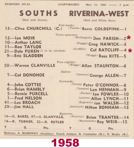 1958 souths v riverina