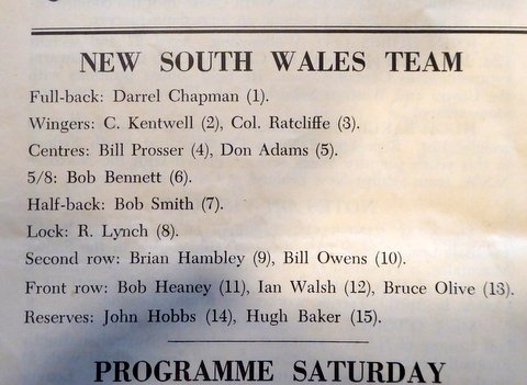 1959 nsw v west aussie team program