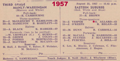 1957 program easts v manly 3rd grade