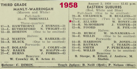 1958 program easts v manly 3rd grade