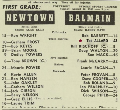 1962 Balmain V newtown fixed program
