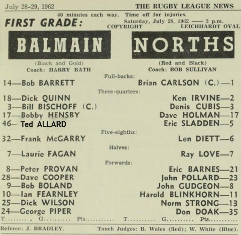 1962 new program balmain v norths