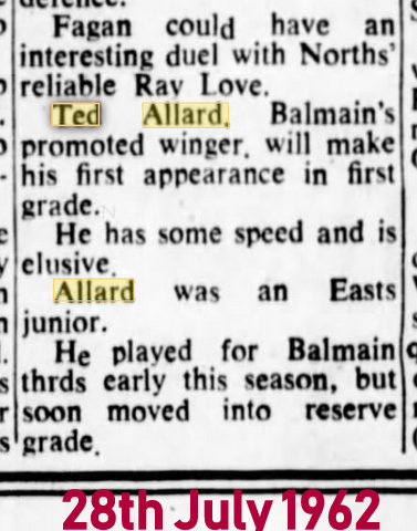 1962 newspaper report ted playing first grade V norths