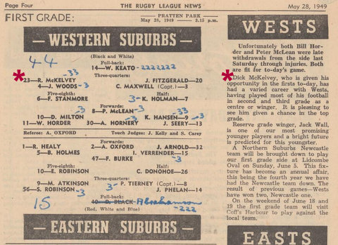 1949 dick scores 2 tries v easts at pp