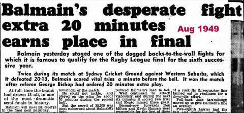 1949 semi final loss to balmain