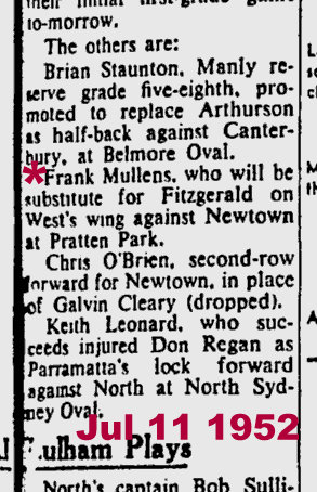1952 Fred pick in side v newtown