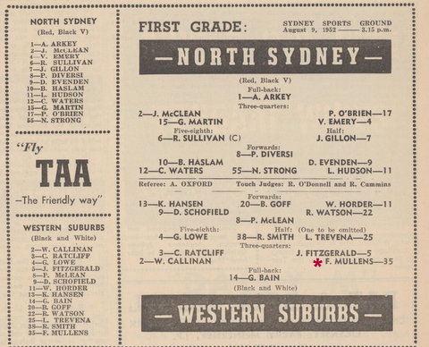 1952 Wests v NSydney program