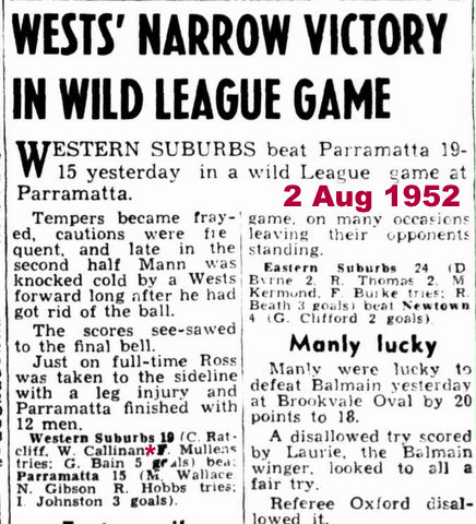 1952 Wests v Parra game report
