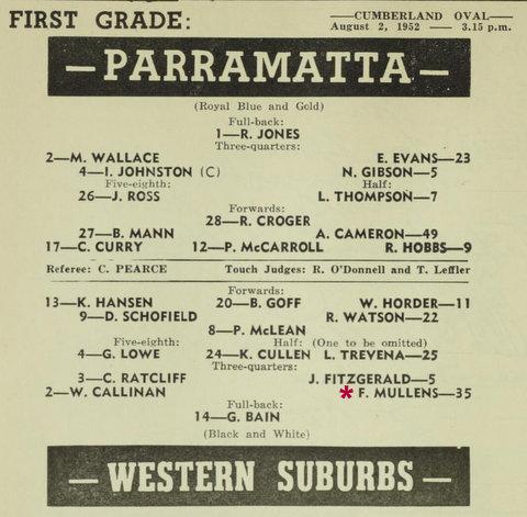 1952 Wests v Parra program