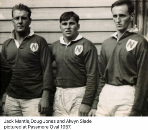 1957 photo taken at Passmore Oval with Jack Mantle and Alwyn Slade