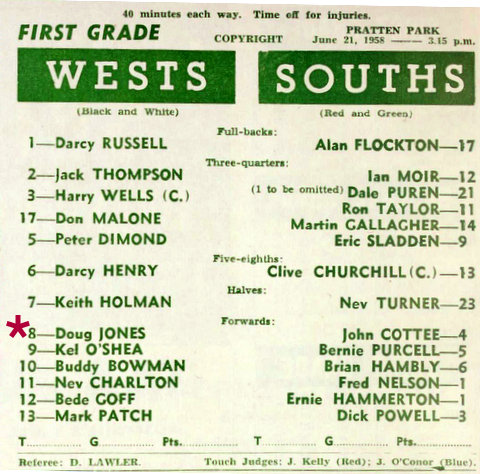 1958 Wests v Souths program