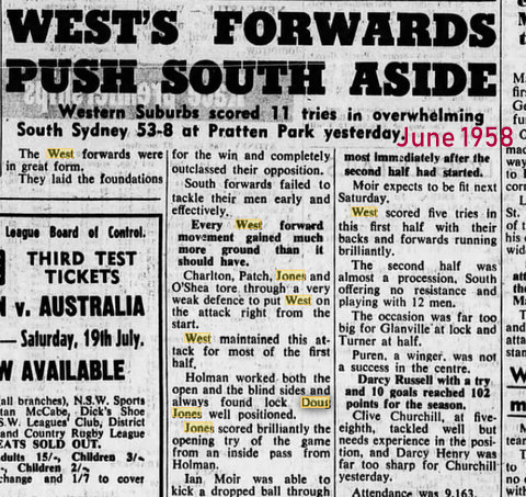1958 june wests v souths Wests 53 Souths 8 @ PP game report