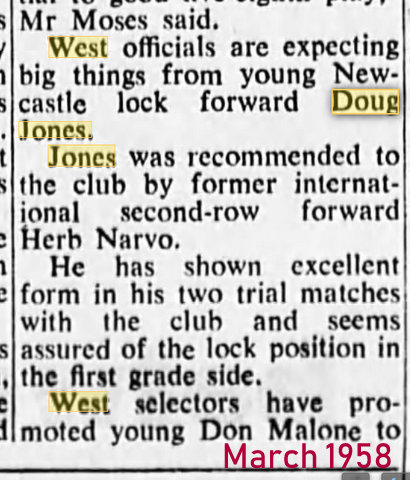 1958 march story young newcastle forwrd smh