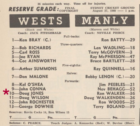 1960 reserve grade final Wests 7 manly 8