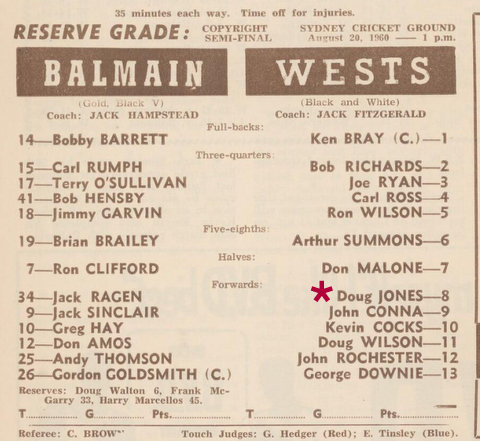 1960 reserve grade semi final Wests v Balmain
