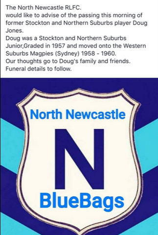 Death notice from North Newcastle club plus club badge