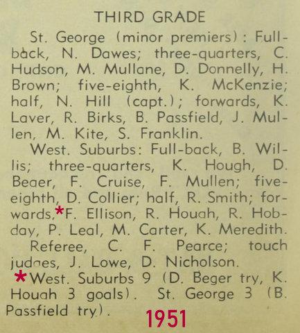 1951 score third grade wests v saints semi.