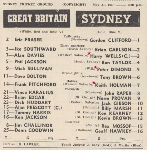 1958 team list gb v sydney