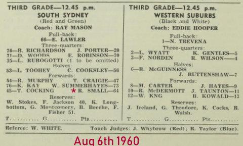 1960 3 grade souths v wests