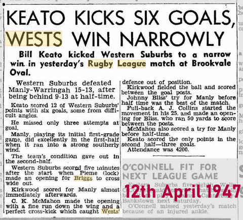 1947 game report wests v manly
