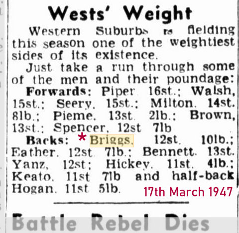 1947 wests weight