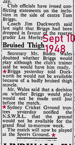 1948 newspaper story about Tom injury for Final