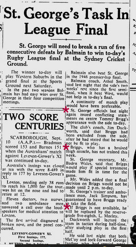 1948 newspaper story about injury for Final