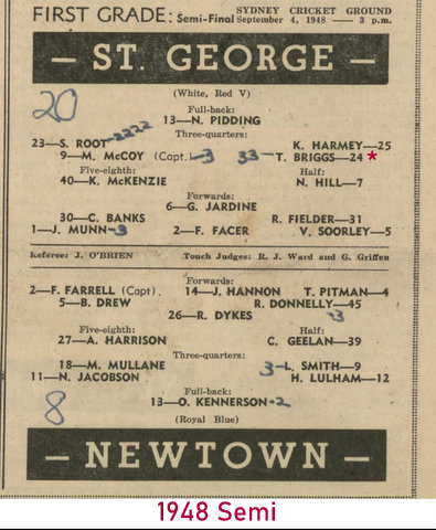 1948 semi scores 2 tries St George 20 V Newtown 8