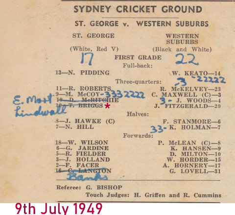 1949 Tom picked but did not play V Wests