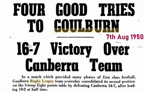 1950 7 aug good win by goulburn