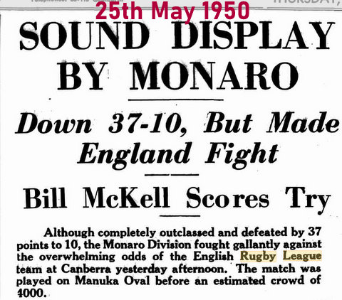 1950 monaro v england game report
