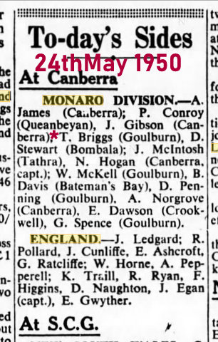 1950 teams for monaro v england