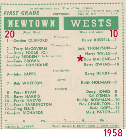 1958 1st Forst grade game Wests
