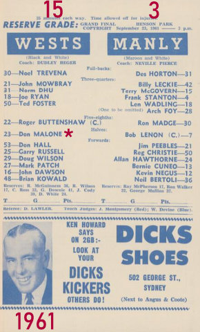 1961 RG grand final program team lists