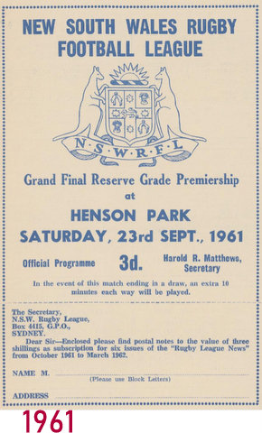 1961 Reserve grade GF at Henson Park program