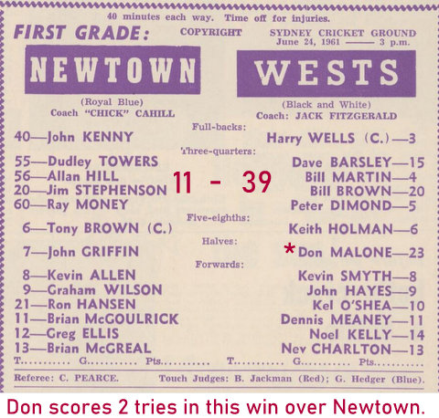 1961 wests 39 newtown 11 don scores 2 tries @ scg