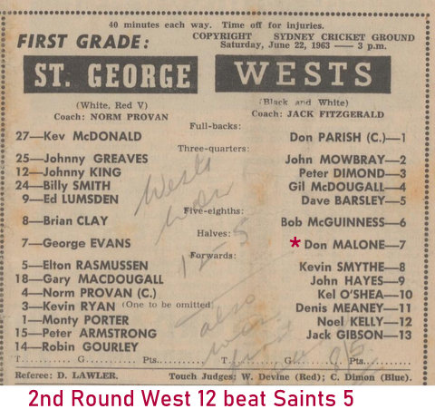 1963 2rd round win over saints