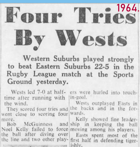 1964 Wests beat easts 22 to 5