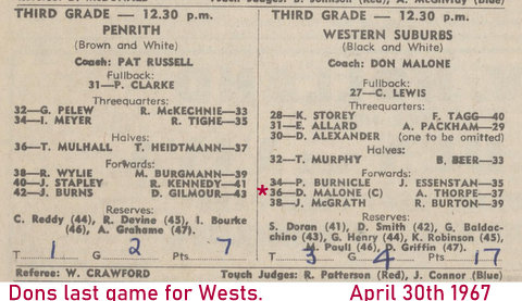 1967 dons last game for wests in third grade