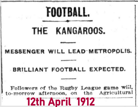 1912 advert for game kangaroos v metropolis