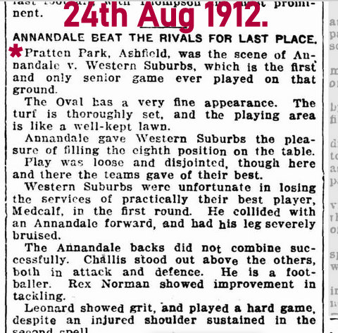 1912 story of first game at pp
