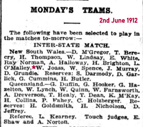 1912 team list nsw v qld