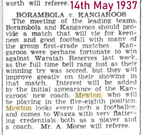 1937 new coach at wagga kangaroos