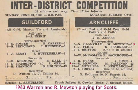 1963 warren and his brother in the same scots team